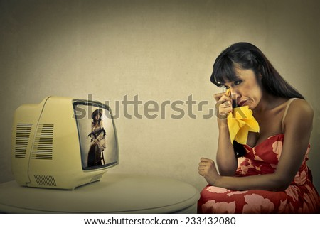 moved woman  - stock photo
