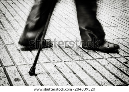 Movement of a person walking seniors - stock photo