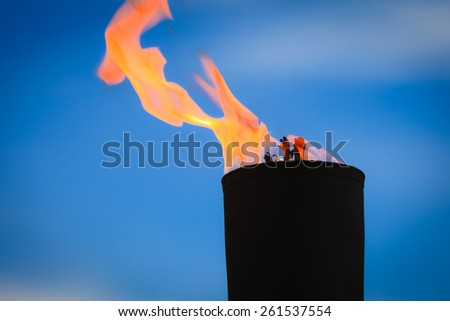 Movement of fire flame vigil  light outdoor - stock photo