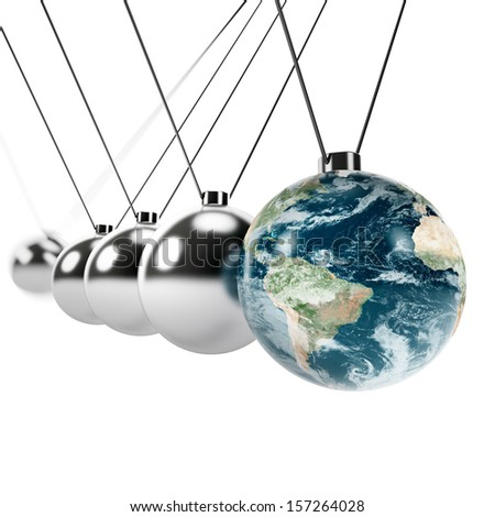Movement of nature. Newton pendulum with Earth globe. Isolated on white. Earth map provided by NASA. - stock photo