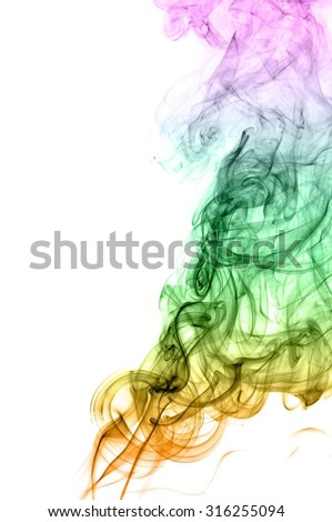 Movement of smoke,Abstract colorful smoke on white background, smoke background,colorful ink background,Violet  and Green and Orange