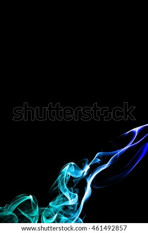 movement of smoke, Abstract Light blue smoke on black background, Light blue background,Light blue ink on black background