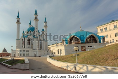 Movement of the clouds over the mosque Kul-Sharif. Kazan, Republic of Tatarstan, Russia. - stock photo