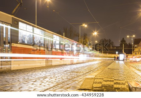 Movement of trams to nightlife Prague, Czech Republic  - stock photo