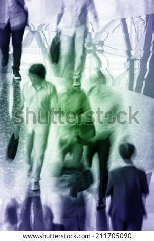 Movement of working people walking along reflect grossing floor - stock photo