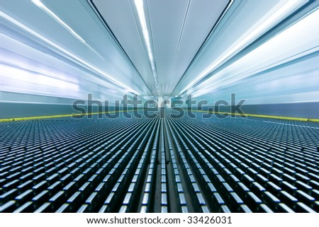 Movement on a airport escalator