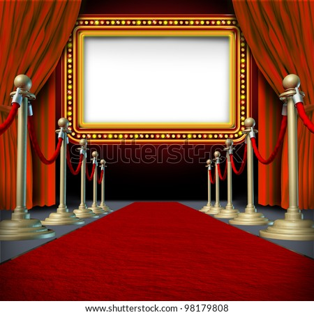 Movie and theater marquee blank sign with elegant velvet curtains and a red carpet with gold barriers roped off and a billboard in lights as an icon of entertainment and important show announcement. - stock photo