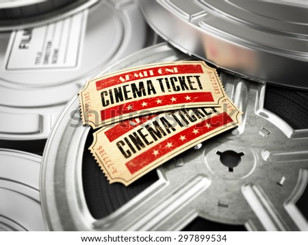 Movie, cinema vintage concept. Tickets on retro film reels and boxes. 3d - stock photo