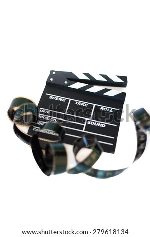 Movie clapper and 35 mm film isolated on white background filmstrip unrolled vertical frame - stock photo