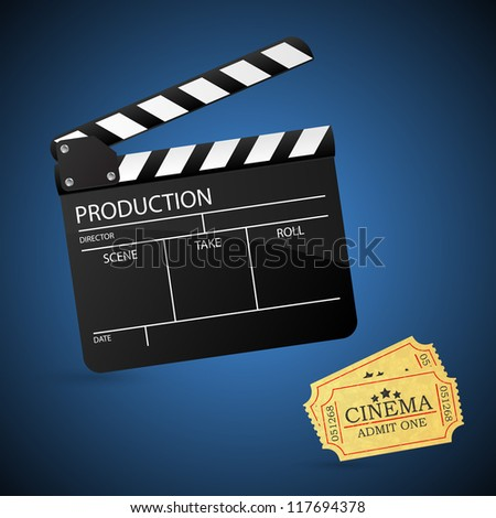 Movie clapper board and admit one ticket. Illustration. - stock photo