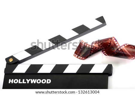 Movie clapper board, isolated , movie industry concept - stock photo
