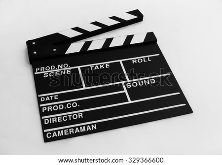 Movie clapper board on white background /slate