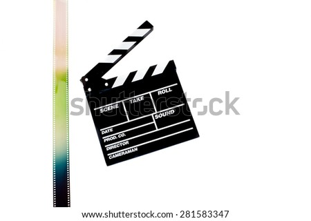 Movie clapper board with colored filmstrip on white background