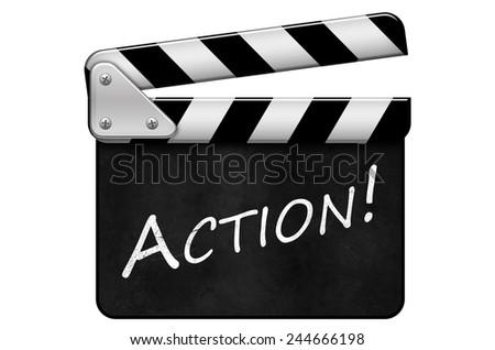 movie clapper, clapper, Action - stock photo