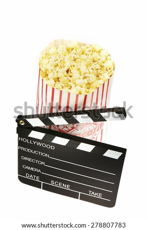 Movie clapperboard and popcorn
