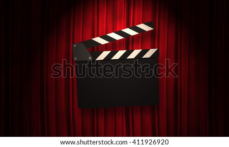 Movie clapperboard on a red background with a folds