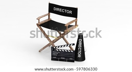 movie director chair and clapper isolated on white background 3d