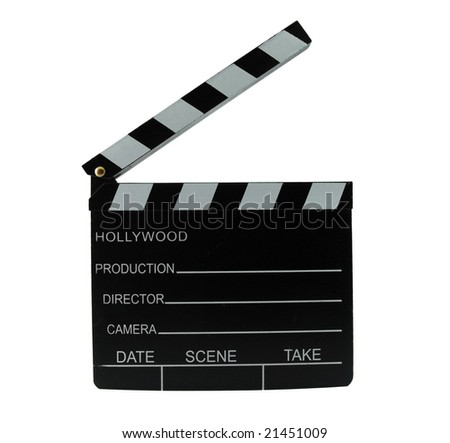 Movie director clapboard isolated on white