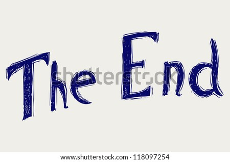 Movie ending screen. Doodle style. Raster - stock photo