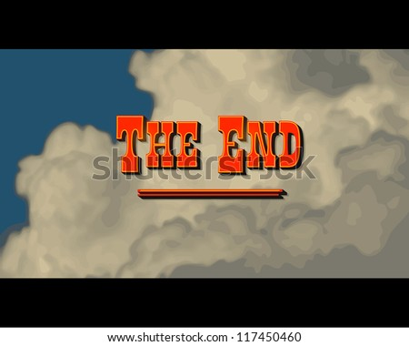 Movie ending screen - Western - JPG Version - stock photo