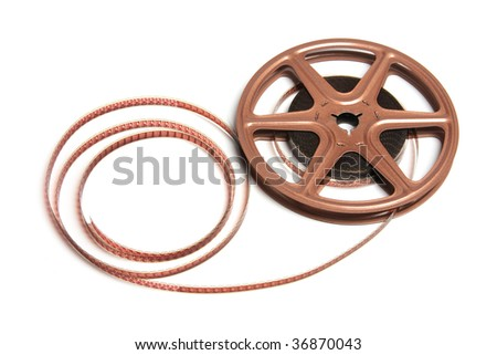 Movie Film Reel on Isolated White Background
