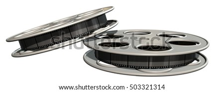movie film reels isolated on white - 3d rendering