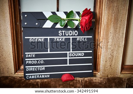 Movie flapper with rose close-up - stock photo