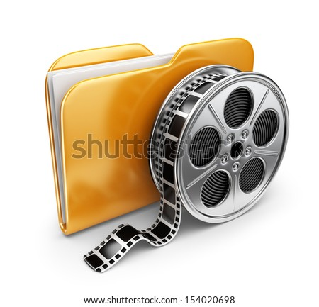 Movie folder with a films spool. 3D Icon isolated on white background - stock photo