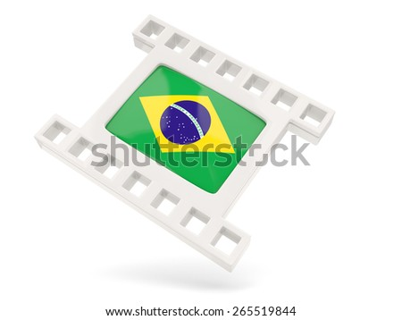 Movie icon with flag of brazil isolated on white - stock photo