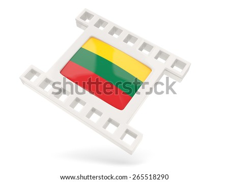 Movie icon with flag of lithuania isolated on white - stock photo