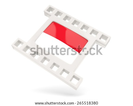 Movie icon with flag of monaco isolated on white