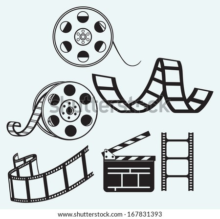 Movie icons isolated on blue background. Raster version