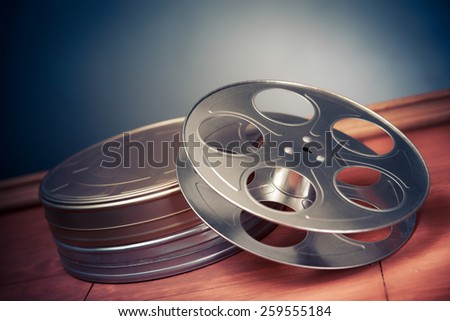 movie industry objects on a grey background - stock photo