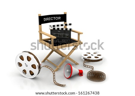 Movie industry. Producer chair, clapper board and film reel - stock photo