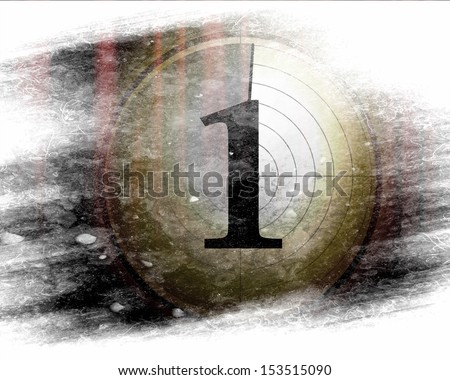 Movie or theater curtain with added countdown - stock photo