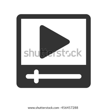Movie player icon. Video player for web. Simple flat logo of movie player isolated on white background. - stock photo
