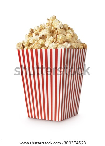 Movie Popcorn isolated on white with clipping path - stock photo