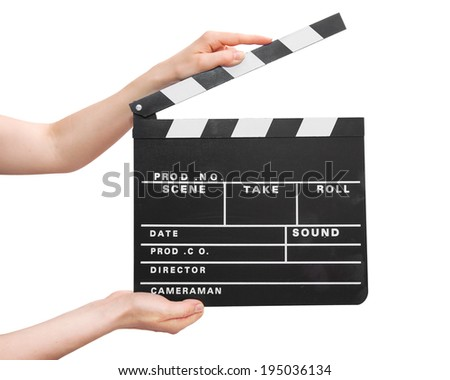 movie production clapper board in hands on white