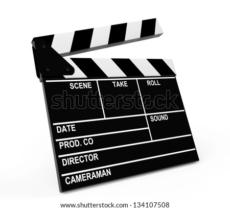 Movie production clapper board on a white background - stock photo
