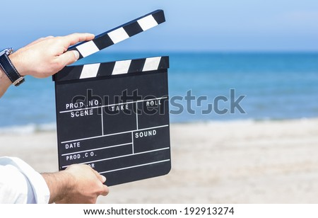 movie stage on the beach - stock photo