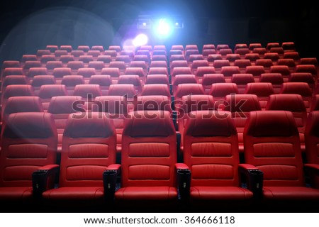 movie theater empty auditorium with seats - stock photo