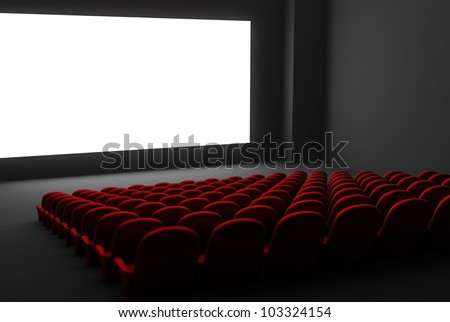 Movie theatre interior. Isolated white screen - stock photo