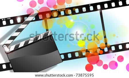 movies film and Clapper board  background With easy append  sample text. - stock photo