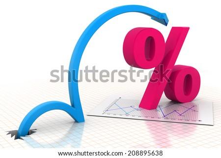 Moving arrow with percentage symbol  - stock photo