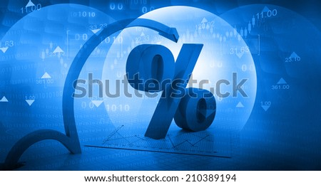 Moving arrow with percentage symbol  on abstract blue background  - stock photo