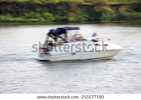Moving boat motion abstraction background.Specially blurred photo