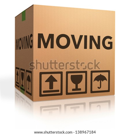 moving box cardboard brown package with text relocation icon