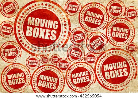 moving boxes, red stamp on a grunge paper texture - stock photo