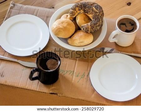 Moving Breakfast - stock photo