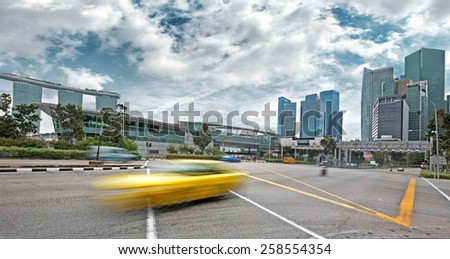 moving car on the boulevard of Singapore - stock photo